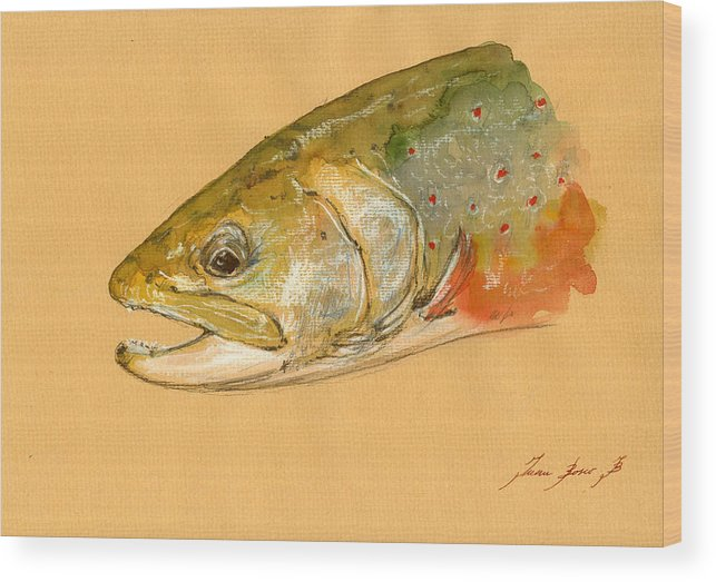 Trout Art Wall Wood Print featuring the painting Trout watercolor painting by Juan Bosco