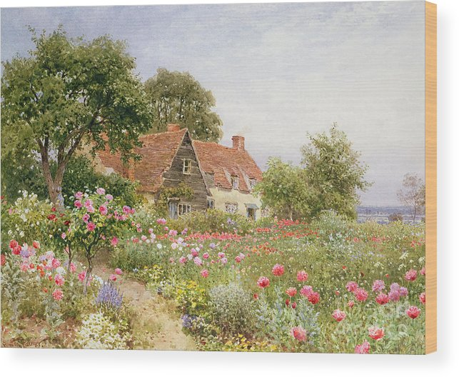 The Cottar's Pride Wood Print featuring the painting A Cottage Garden by Henry Sutton Palmer