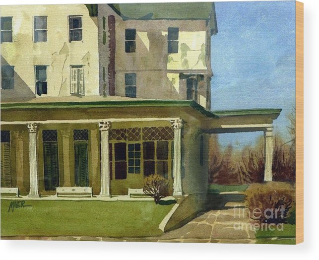Spring Lake Wood Print featuring the painting Abandoned Hotel by Donald Maier