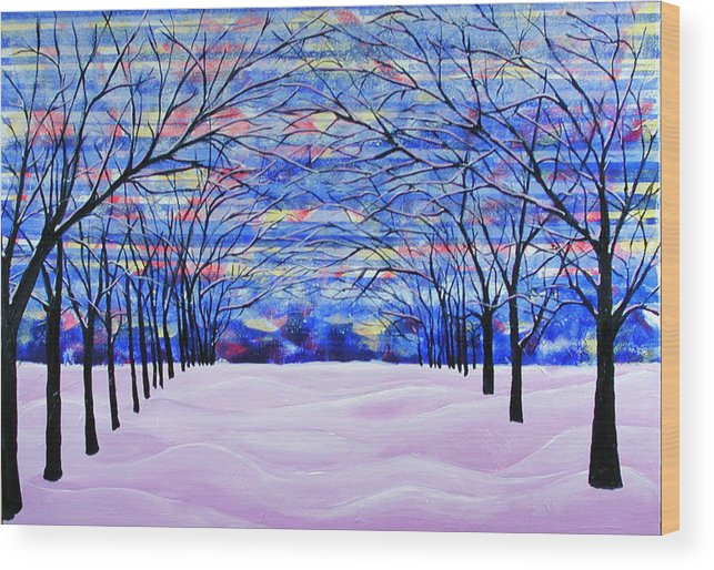 Landscape Wood Print featuring the painting After The Snow by Rollin Kocsis