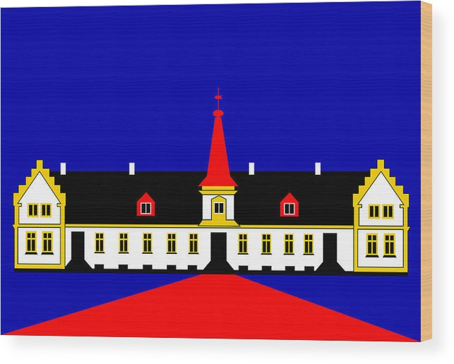 Manor House Wood Print featuring the digital art Agersboel Manor House by Asbjorn Lonvig
