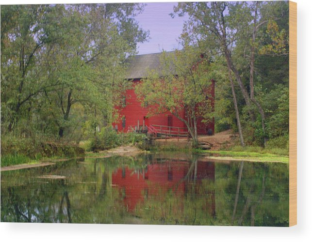 Alley Spring Wood Print featuring the photograph Allsy Sprng Mill 2 by Marty Koch