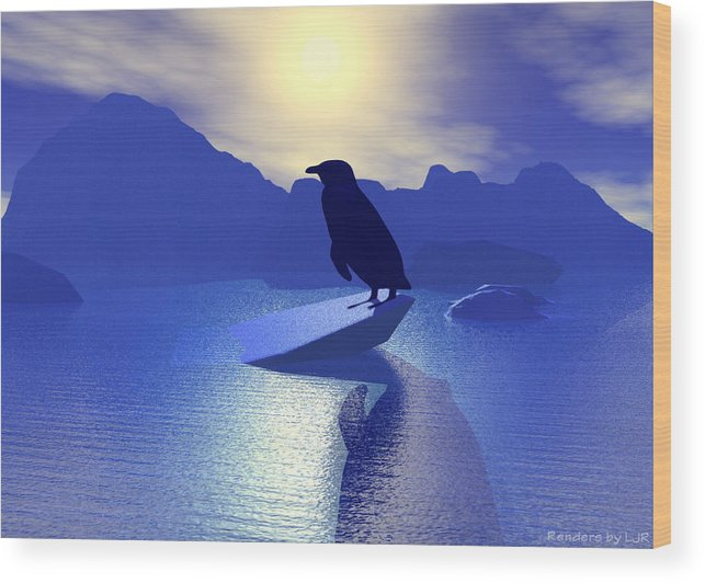 Animal Bird Environment Winter Cold  Wood Print featuring the digital art Alone by Lisa Roy