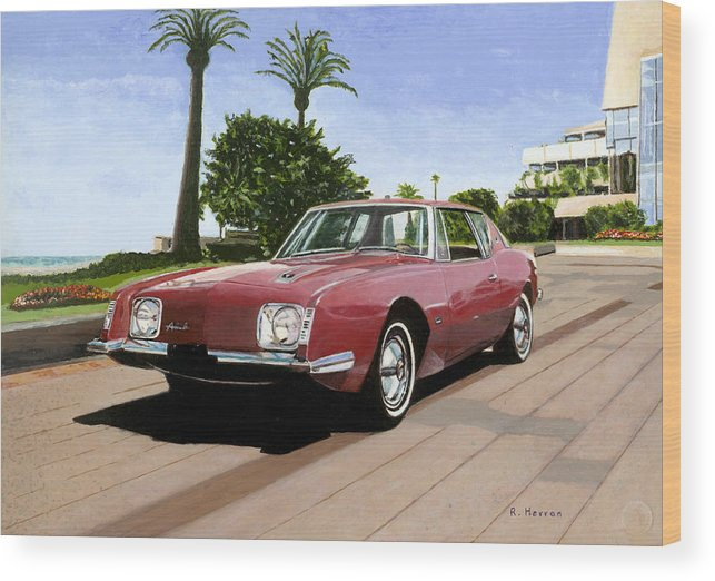 Cannes Wood Print featuring the painting An American In Cannes by Richard Herron