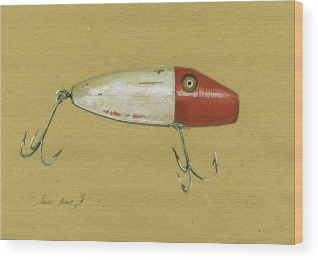 Rainbow Trout Wood Print featuring the painting Antique Lure Bait by Juan Bosco