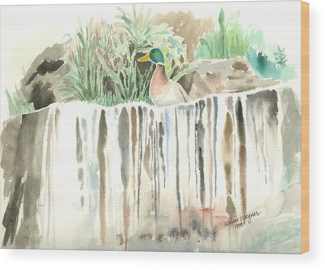 Waterfall Wood Print featuring the painting Atop The Waterfall by Arline Wagner