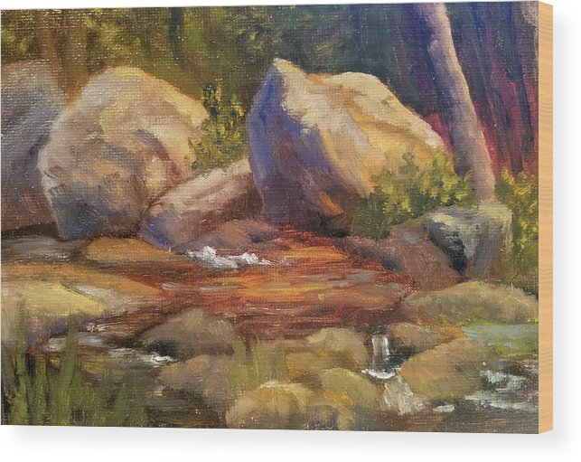 Rocks Wood Print featuring the painting Barely a Trickle by Sharon E Allen