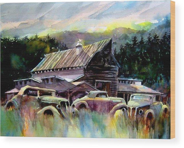 Barn Fresh Cabriolets 37 Fords...barn Wood Print featuring the painting Barn Fresh Cabriolets by Ron Morrison