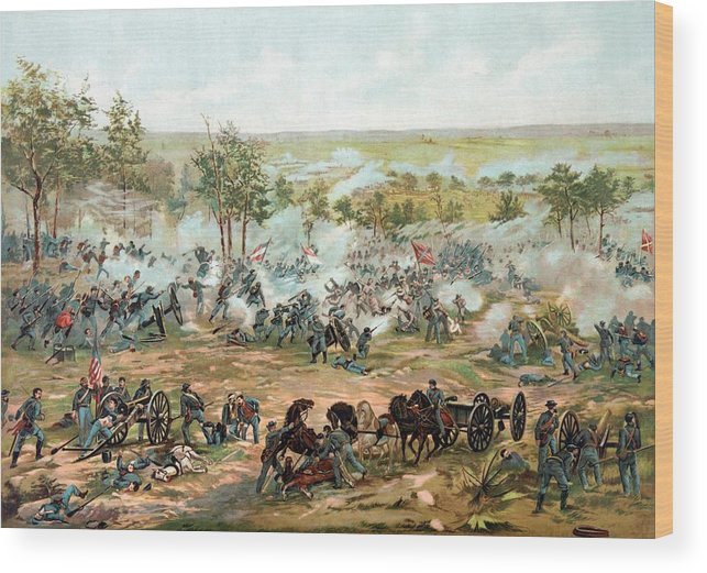 Gettysburg Wood Print featuring the painting Battle of Gettysburg by War Is Hell Store
