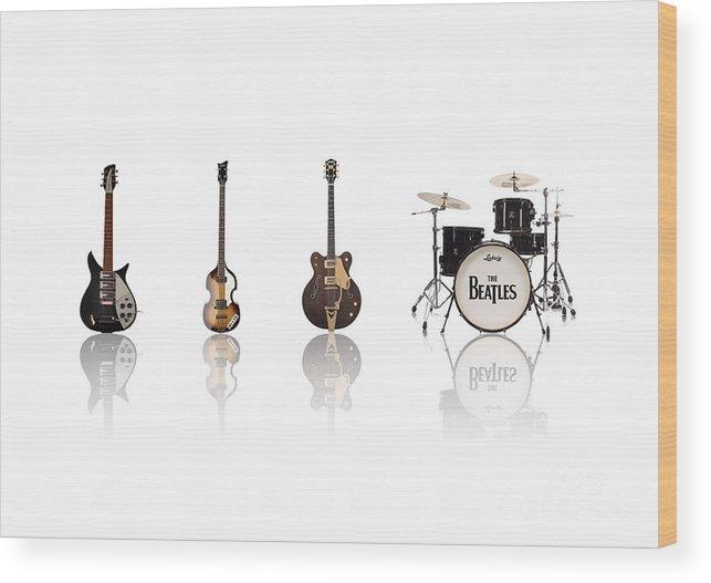 The Beatles Wood Print featuring the digital art Beat of Beatles by Deer Devil Designs