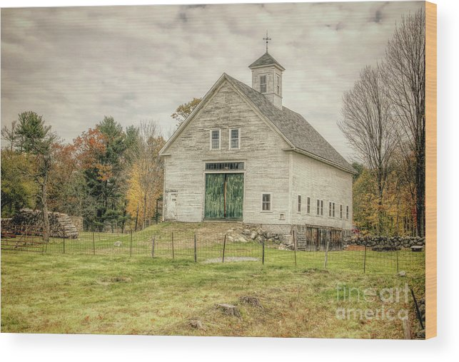 Old Barns Wood Print featuring the photograph Big White Barn by Diana Nault