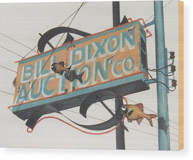 Cityscape Wood Print featuring the painting Bill Dixon Auction by Van Cordle