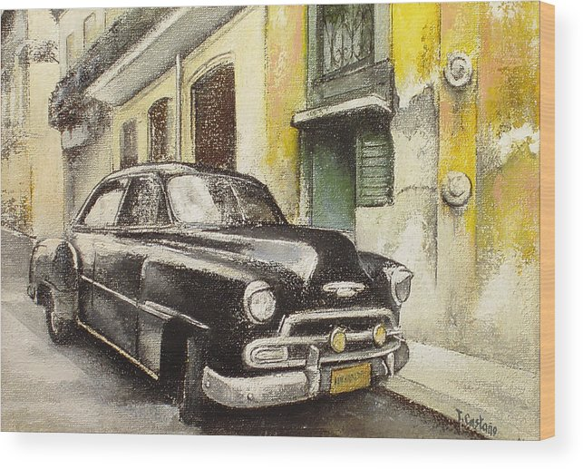 Car Wood Print featuring the painting Black cadillac by Tomas Castano