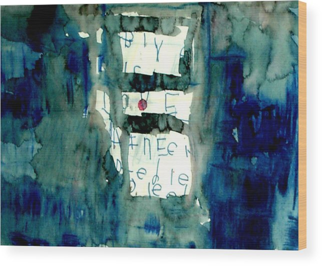 Abstract Wood Print featuring the painting Blue Building by Alfred Resteghini