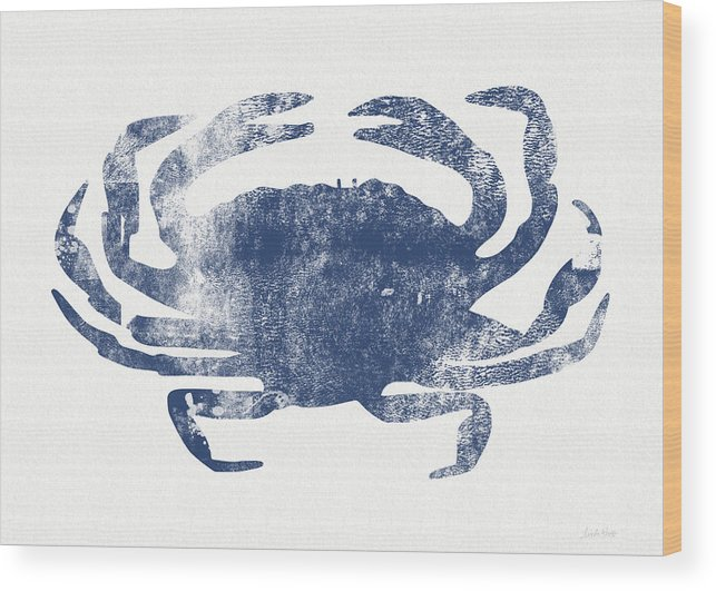 Cape Cod Wood Print featuring the painting Blue Crab- Art by Linda Woods by Linda Woods