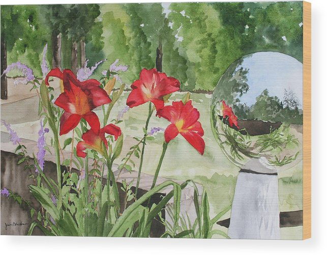 Flowers Wood Print featuring the painting Blue Sky Reflections by Jean Blackmer