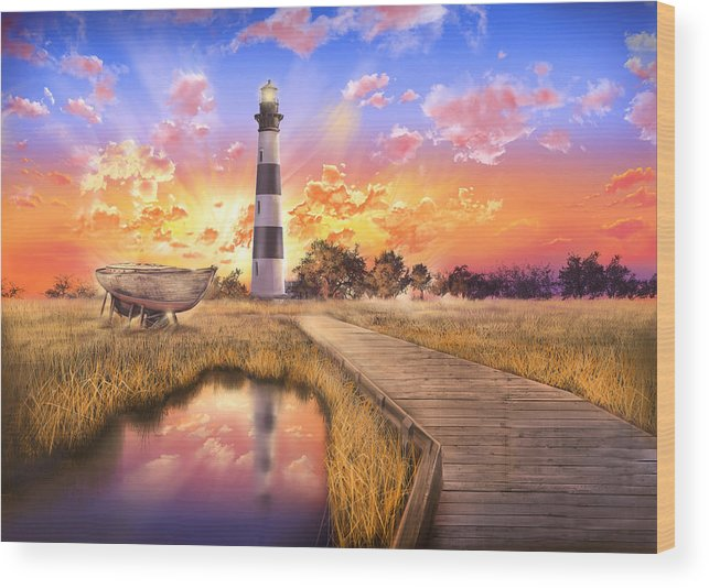 Lighthouse Wood Print featuring the photograph Bodie Island Lighthouse by Bekim M