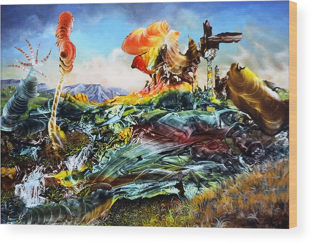 Landscape Wood Print featuring the painting Bogomil Landscape by Otto Rapp