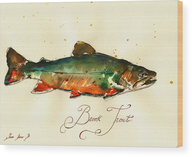 Brook Trout Wood Print featuring the painting Brook trout art by Juan Bosco