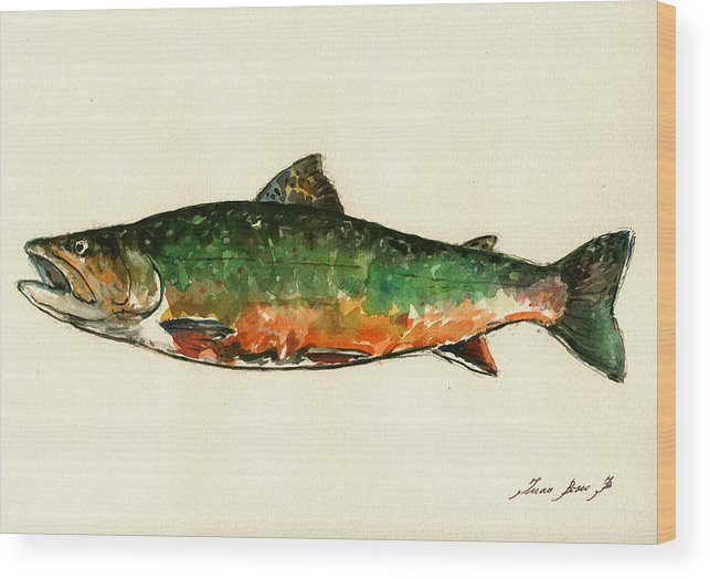 Brook Trout Wood Print featuring the painting Brook trout by Juan Bosco