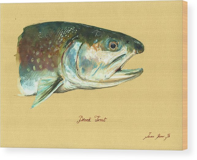 Brook Trout Wood Print featuring the painting Brook trout watercolor by Juan Bosco