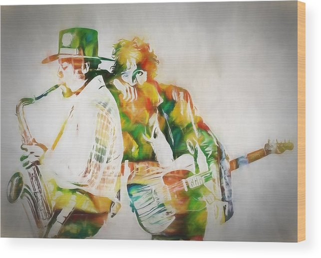 Bruce And The Big Man Wood Print featuring the painting Bruce And The Big Man by Dan Sproul