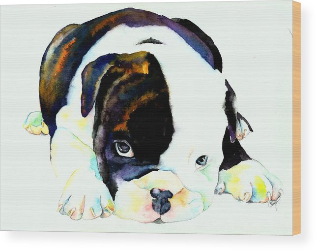 Puppy Wood Print featuring the painting Bulldog Puppy by Christy Freeman Stark
