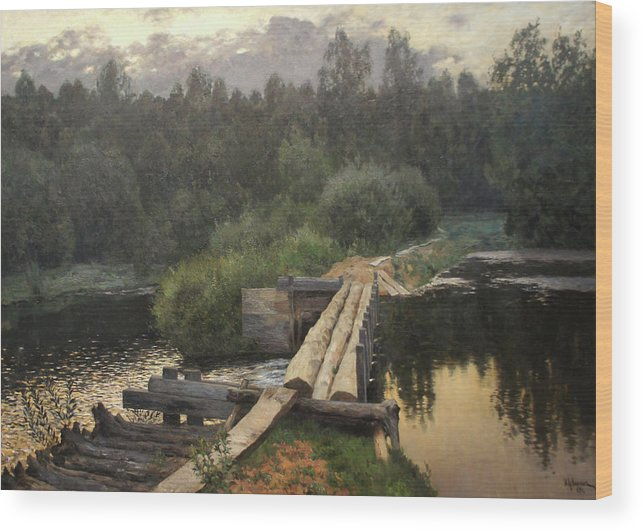 Isaac Levitan Wood Print featuring the painting By the Whirlpool by Isaac Levitan