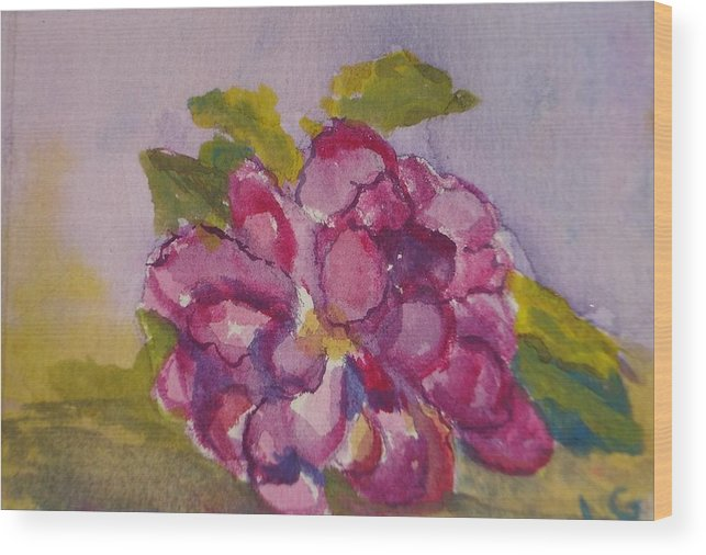 Flower Wood Print featuring the painting Camellia by Lessandra Grimley