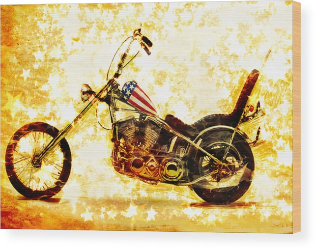 Easy Rider Wood Print featuring the mixed media Captain America by Russell Pierce