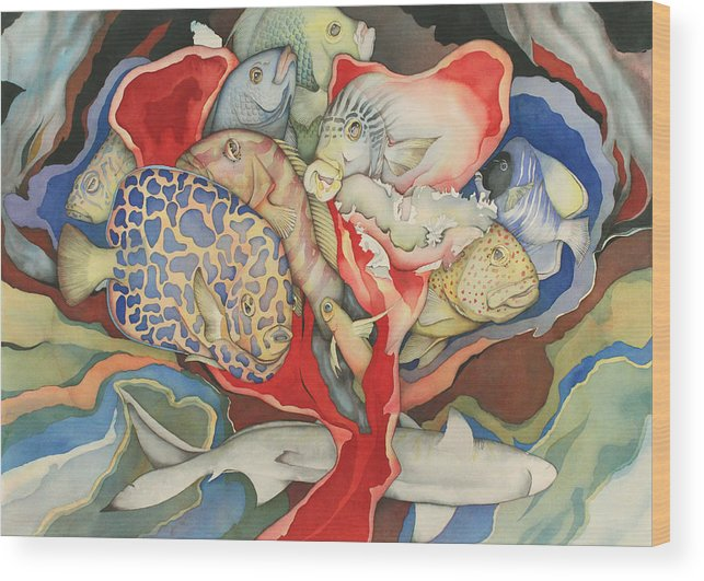 Sealife Wood Print featuring the painting Chanson d'amour by Liduine Bekman