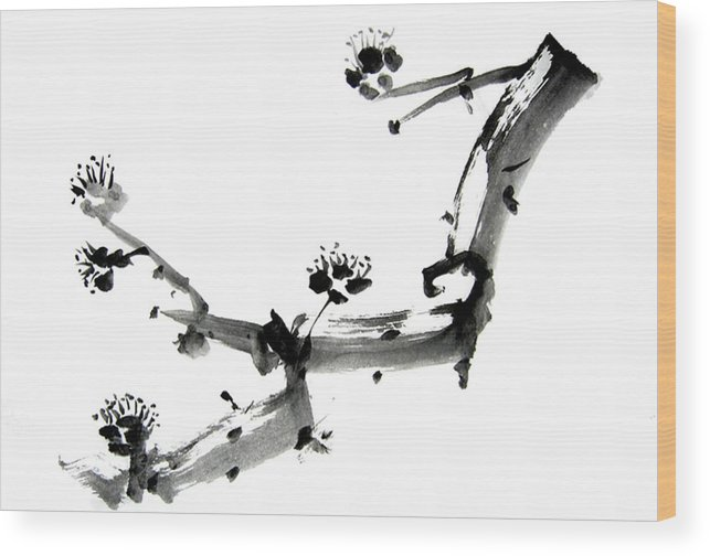 Chinese Brush Wood Print featuring the painting Chinese Brush ll by Ellen Hosier