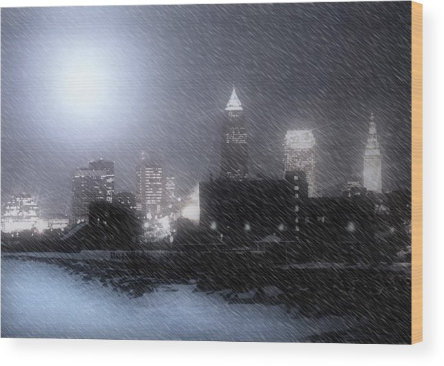 Cleveland Wood Print featuring the photograph City Bathed In Winter by Kenneth Krolikowski