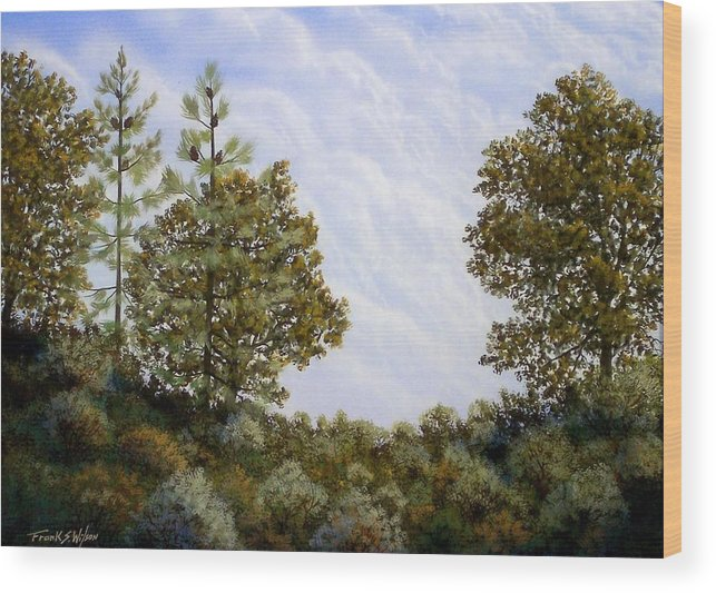 Landscape Wood Print featuring the painting Clouds In Foothills by Frank Wilson