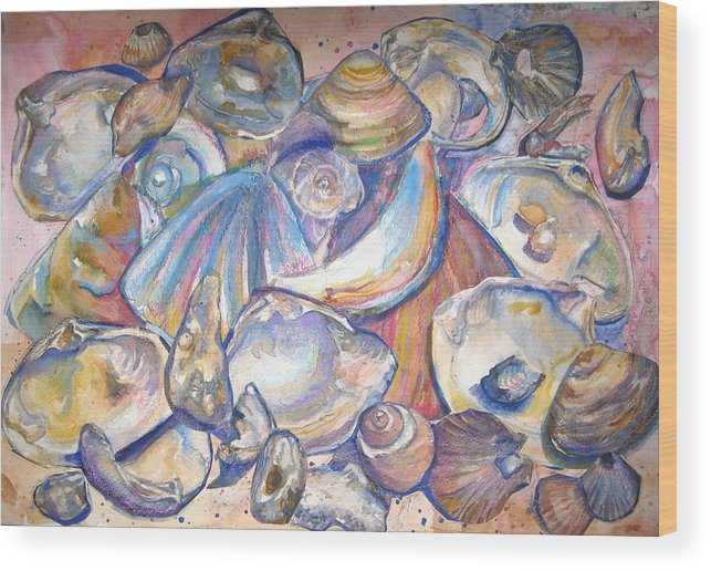 Collage Wood Print featuring the painting Collage of Shells by Joyce Kanyuk