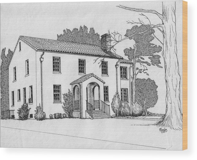 Drawing - Pen And Ink Wood Print featuring the drawing Colonel Quarters 2 - Fort Benning GA by Marco Morales