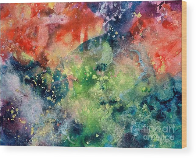 Abstract Wood Print featuring the painting Cosmic Clouds by Lucy Arnold