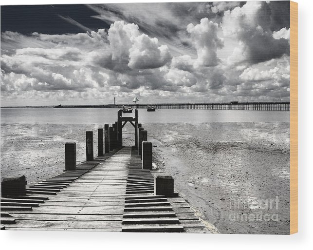 Wharf Southend Essex England Beach Sky Wood Print featuring the photograph Derelict Wharf by Sheila Smart Fine Art Photography