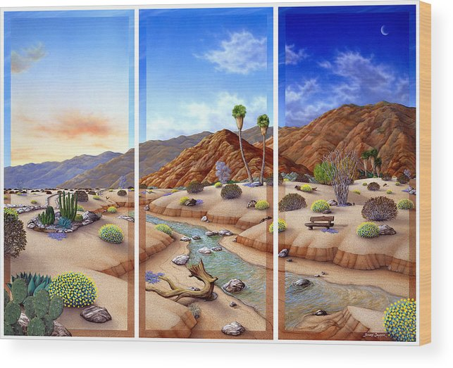 Landscape Wood Print featuring the painting Desert Vista by Snake Jagger