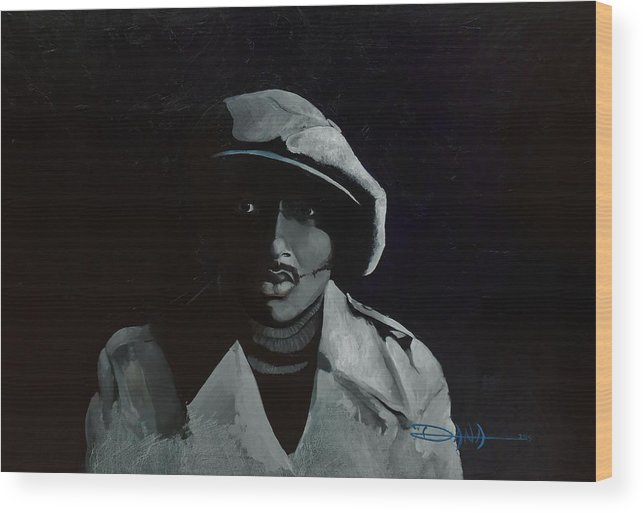 Portrait Wood Print featuring the painting Donnie Hathaway by Dana Newman