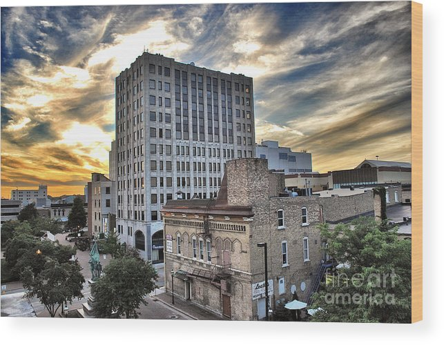 Appleton Wood Print featuring the photograph Downtown Appleton Skyline by Ever-Curious Photography