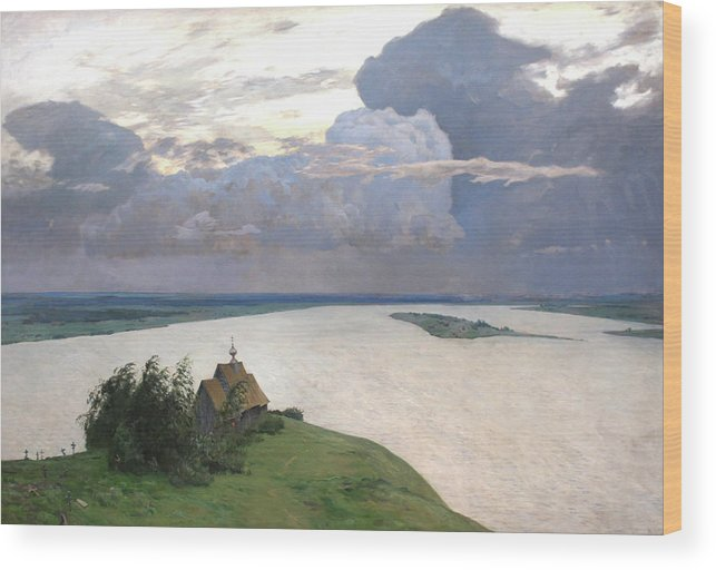 Isaac Levitan Wood Print featuring the painting Eternal Peace by Isaac Levitan