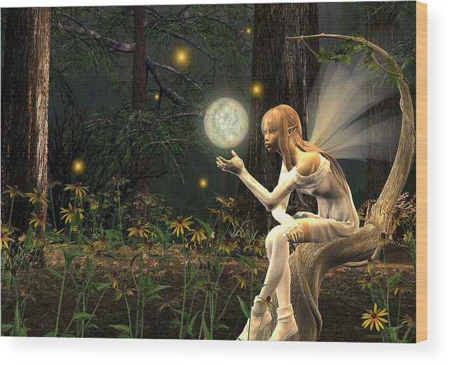Fairy Fae Fairies Magic Fantasy Wood Print featuring the digital art Fairy Light by Lisa Roy