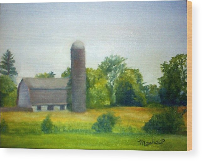 Farm Wood Print featuring the painting Farm in the Pine Barrens by Sheila Mashaw