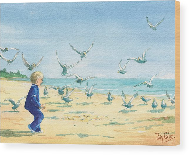 Boy On Beach Wood Print featuring the painting Feeding Joy by Ray Cole