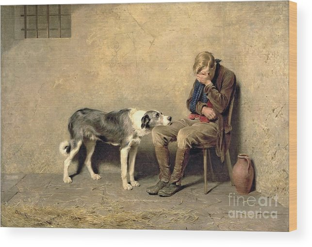 Fidelity Wood Print featuring the painting Fidelity by Briton Riviere