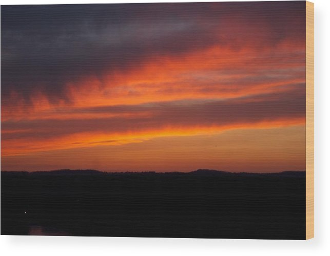 Red Sunset Wood Print featuring the photograph Firey Skies by Toni Berry