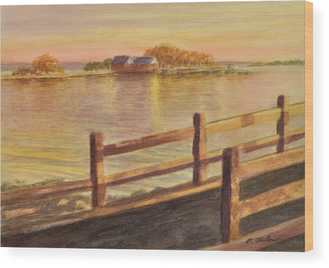 Landscape Wood Print featuring the painting Five Islands Sunset by Phyllis Tarlow