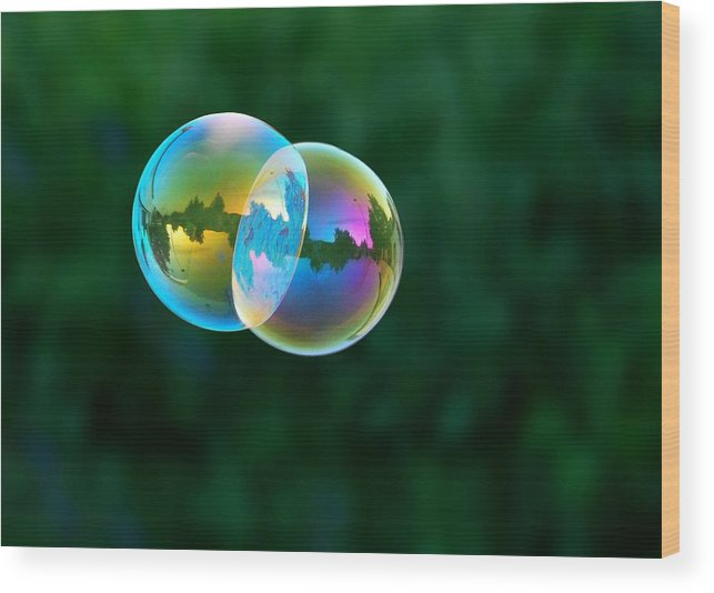 Bubbles Wood Print featuring the photograph Floating Double by Marilynne Bull