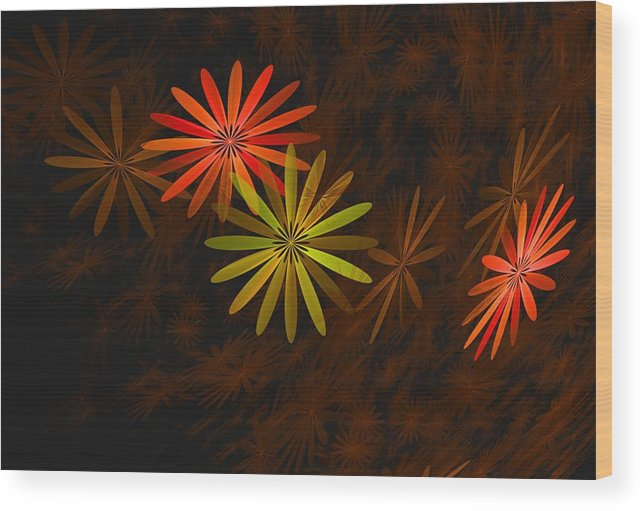Digital Photography Wood Print featuring the digital art Floating Floral-008 by David Lane